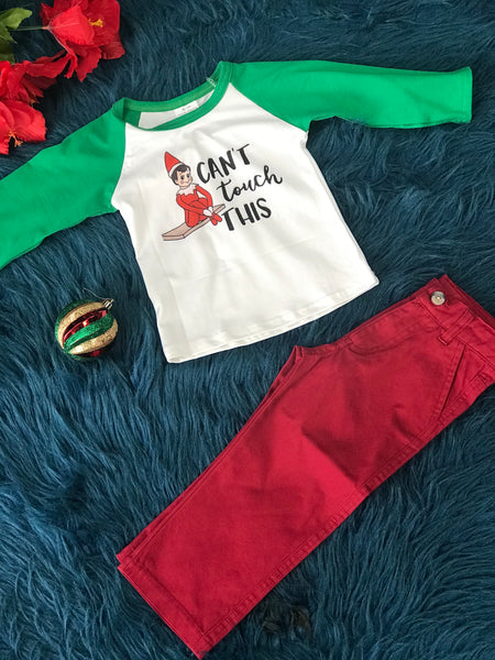 New Christmas Cant Touch This Elf On The Shelf Long Sleeve Shirt C - JEN'S KIDS BOUTIQUE