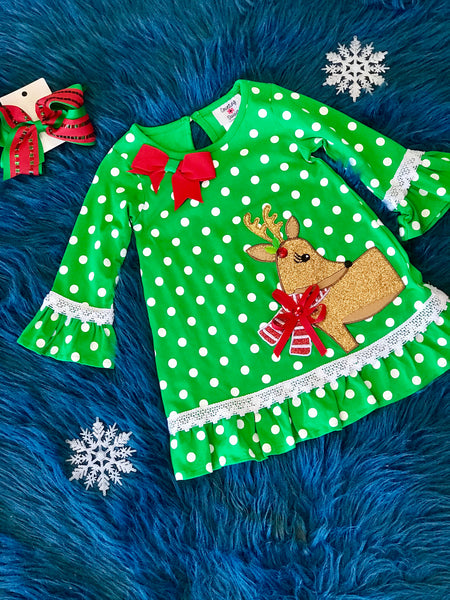 Christmas Polka Dot Reindeer Dress CH - JEN'S KIDS BOUTIQUE