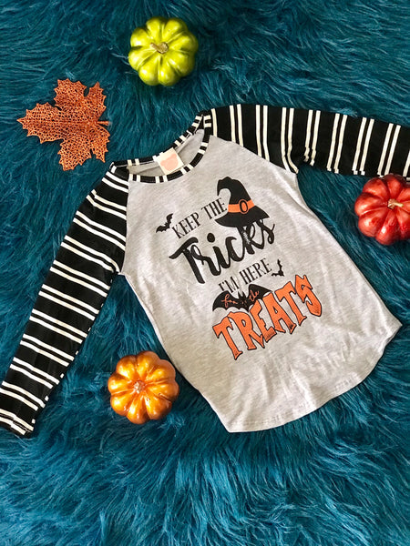 2018 Fall Halloween Keep The Tricks Witch Kids Shirt - JEN'S KIDS BOUTIQUE