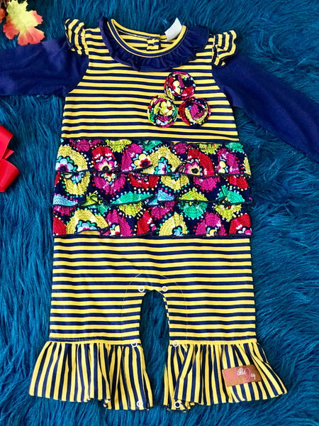 Fall Millie Jay Navy & Yellow Mixed Print Ruffle Romper