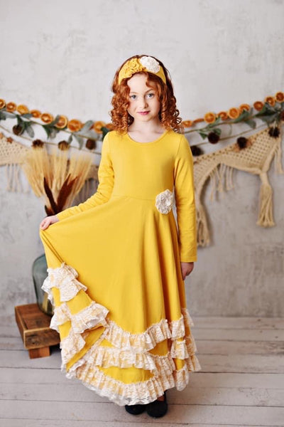 New Fall Serendipity Harvest Field Butterscotch Maxi Twirling Dress flower separate but available - JEN'S KIDS BOUTIQUE