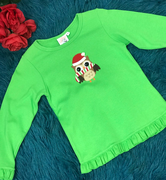 Luigi Green Christmas Owl Ruffle Shirt CH - JEN'S KIDS BOUTIQUE