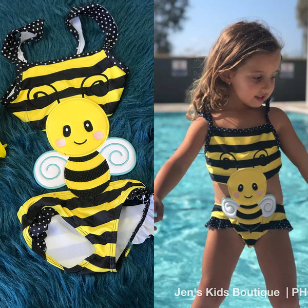 Summer Fun Ruffle One Piece Bubble Bee Bikini Swimsuit - JEN'S KIDS BOUTIQUE