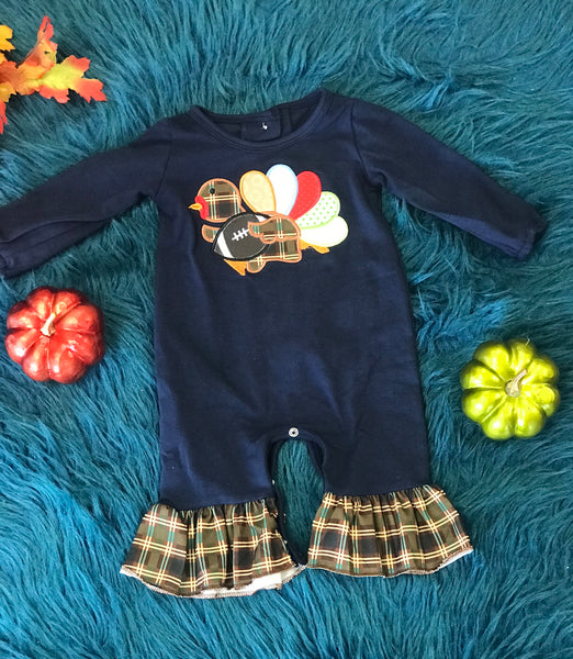 New Fall Thanksgiving Navy & Plaid Turkey Foot Ball Infant Girls Ruffle Romper - JEN'S KIDS BOUTIQUE