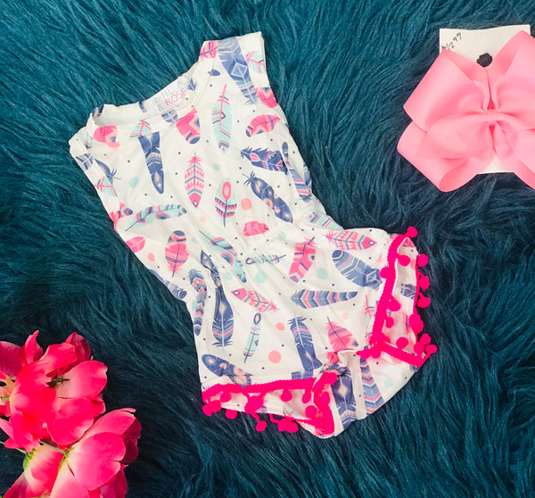 Spring Feather Print Pom Pom Romper By Mila Rose - JEN'S KIDS BOUTIQUE