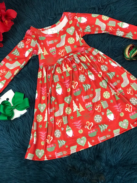 New Christmas Girls Red Mixed Stocking & Tree Dress - JEN'S KIDS BOUTIQUE