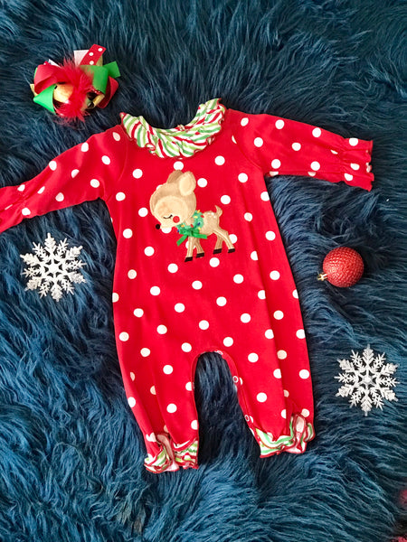 Molly & Millie By Peaches N Cream Christmas Reindeer Infant Romper CH - JEN'S KIDS BOUTIQUE