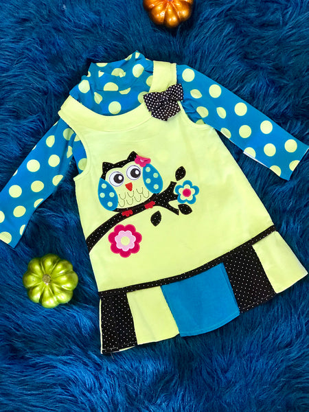 Fall Green Polka Dot Owl Dress With Shirt - JEN'S KIDS BOUTIQUE