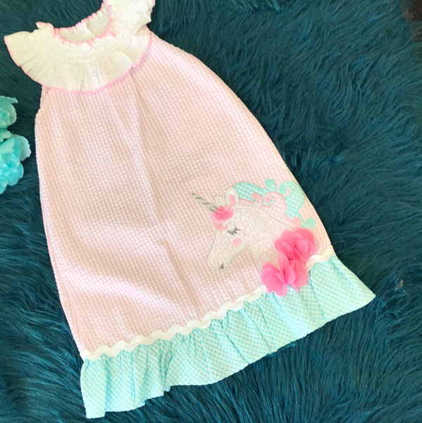 Bonnie Jean Pink Unicorn Dress ECL - JEN'S KIDS BOUTIQUE
