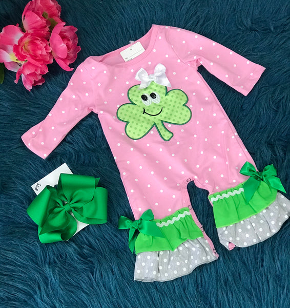 Saint Patricks Pink & Green Happy Clover Ruffle Romper - JEN'S KIDS BOUTIQUE