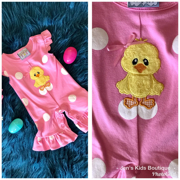 Spring Easter Three Sisters Duck Infant Girls Romper - JEN'S KIDS BOUTIQUE