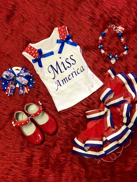 2018 Summer 4th Of July  White Red & Blue W/Stars Petal Tutu Pettiskirt W/Blue Bow - JEN'S KIDS BOUTIQUE