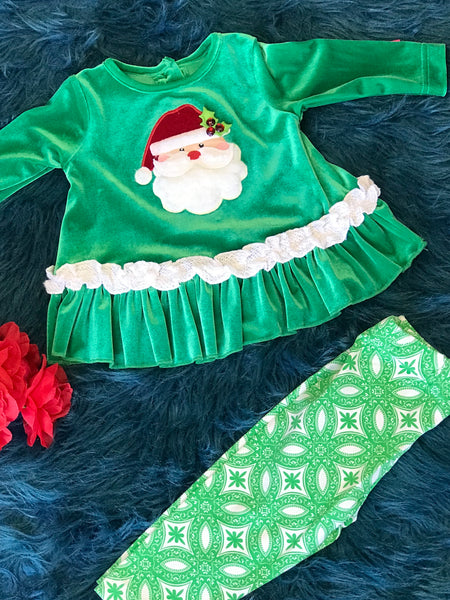 Molly & Millie Holiday Christmas Green Santa Infant Set CH - JEN'S KIDS BOUTIQUE