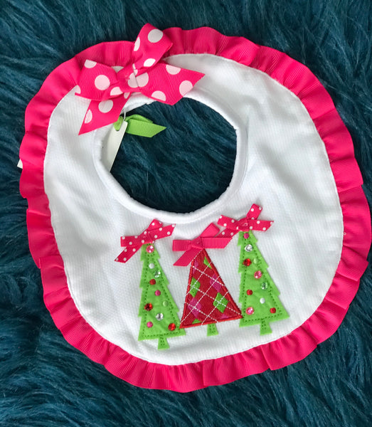 Christmas Tree Bib w/ Pink Lining - JEN'S KIDS BOUTIQUE