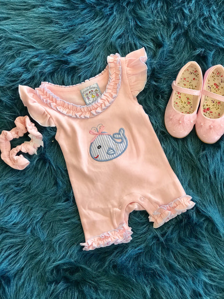 2018 Spring Three Sisters Whale Infant Girls Romper - JEN'S KIDS BOUTIQUE