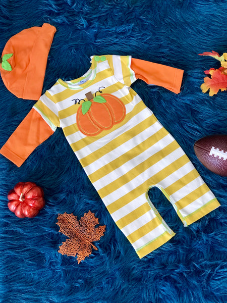Peaches N Cream Fall Boys Thankful Thanksgiving Romper With Pumpkin Hat TH - JEN'S KIDS BOUTIQUE
