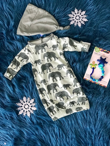 2018 Fall Aloe Elephants Layette Gown & Single Knot Hat Set - JEN'S KIDS BOUTIQUE