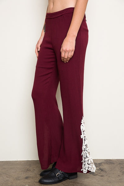 Just For Mommy Hayden Wine Women's Lace Bell Bottoms - JEN'S KIDS BOUTIQUE