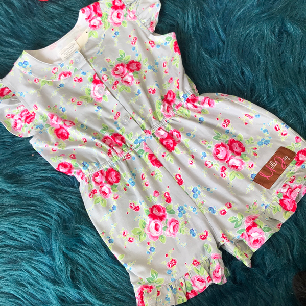 Spring Millie Jay Everlee Rambling Rose Romper - JEN'S KIDS BOUTIQUE