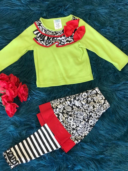 Peaches N Cream Lime & Paisley w/ Red Lining & Bow CH - JEN'S KIDS BOUTIQUE