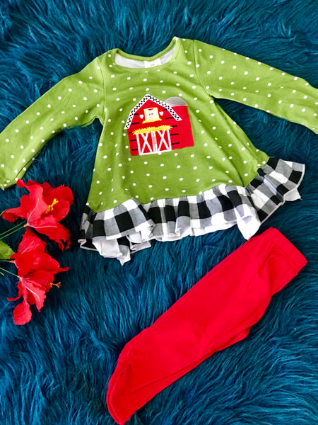 New Fall Girls Ruffle Green & Red Little Barn Pant Set Outfit - JEN'S KIDS BOUTIQUE