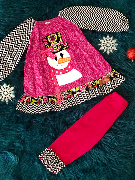 Millie Jay Christmas Chevron & Hot Pink Applique Snowman Dress Set - JEN'S KIDS BOUTIQUE