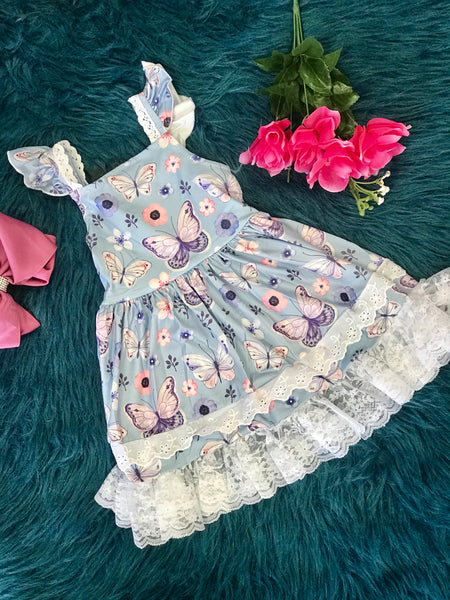 2019 Spring & Summer Blue Butterfly Dress - JEN'S KIDS BOUTIQUE