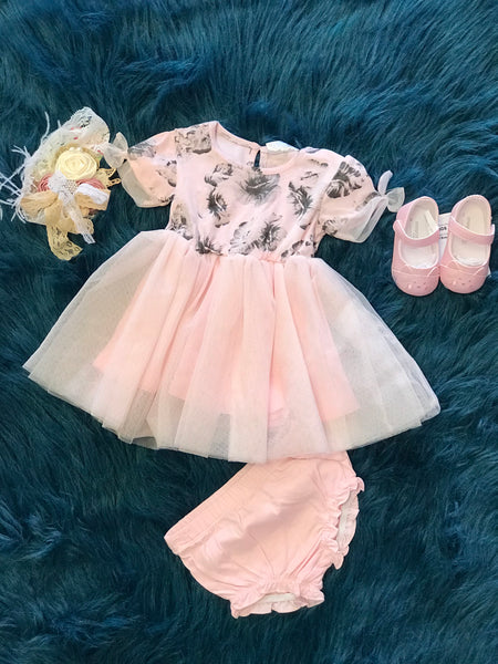 2018 Spring Just Kidding Around Monotone Pink Floral Dress & Panties With Tulle - JEN'S KIDS BOUTIQUE