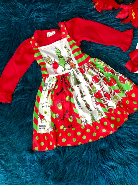 New Fall Christmas Girls's It's The Grinch Sleeveless Party Dress - JEN'S KIDS BOUTIQUE