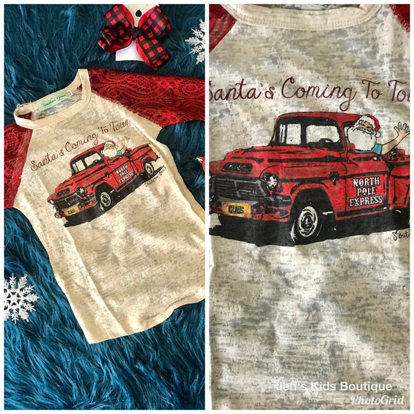 Southern Grace 2018 Christmas Girls Santa's Coming To Town Raglan With Red Sleeves - JEN'S KIDS BOUTIQUE