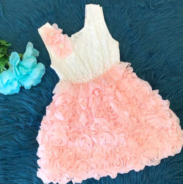 White Crochet & Peach Rosette Dress w/ Flowers