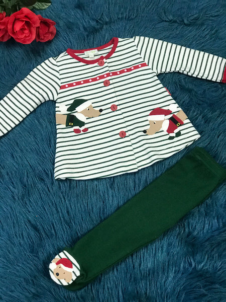 Le Top Green & White Stripped Christmas Dogs Legging Set - JEN'S KIDS BOUTIQUE