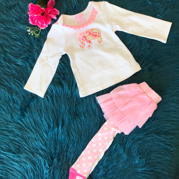Mudpie Long Sleeve Elephant & Tight Tutu Set - JEN'S KIDS BOUTIQUE