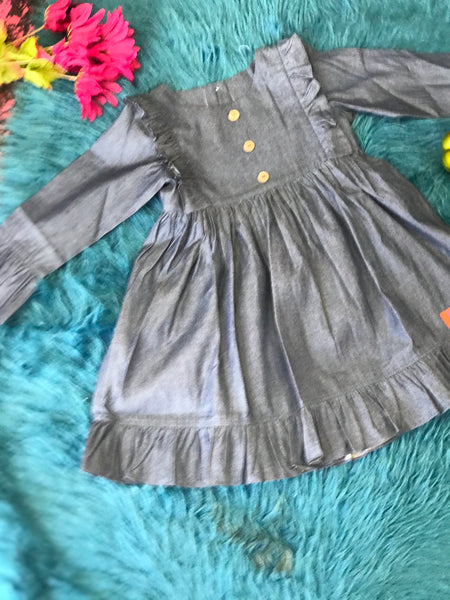 Millie Jay New Fall Chambray Dark Denim Girls Dress - JEN'S KIDS BOUTIQUE