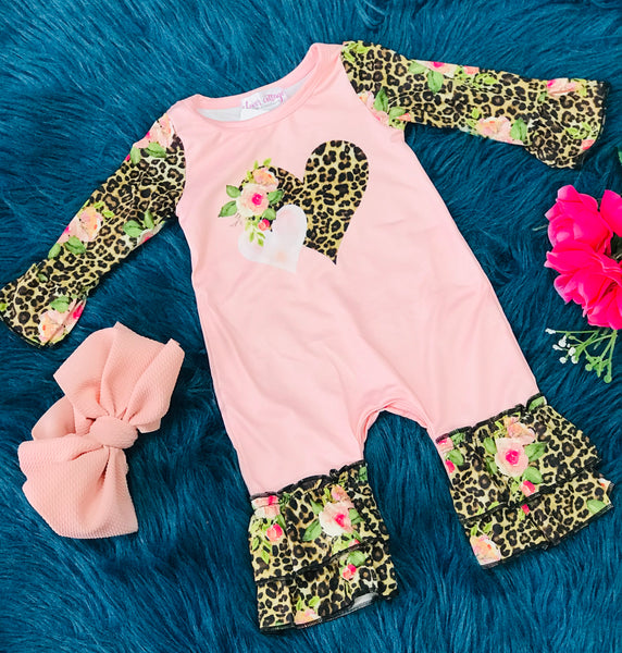 Sweet Valentines Cheetah Ruffle Rose Heart Infant Romper - JEN'S KIDS BOUTIQUE
