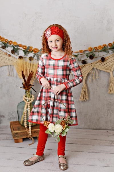 Serendipity Holiday Winter Enchantment Plaid Dress W/ Red Leggings - JEN'S KIDS BOUTIQUE