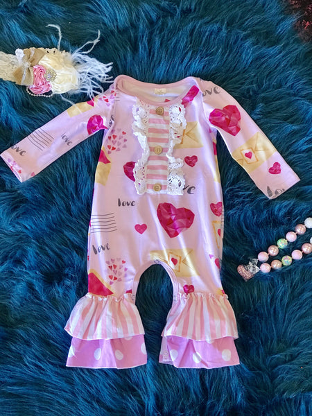 Valentine's Day Love Letters Ruffled Romper - JEN'S KIDS BOUTIQUE
