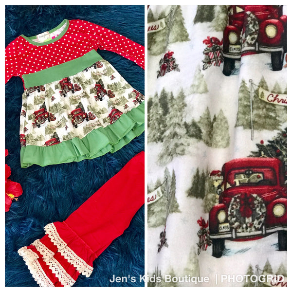 New Fall Girls Christmas Holiday Trucking Fun Ruffle Pants Set - JEN'S KIDS BOUTIQUE