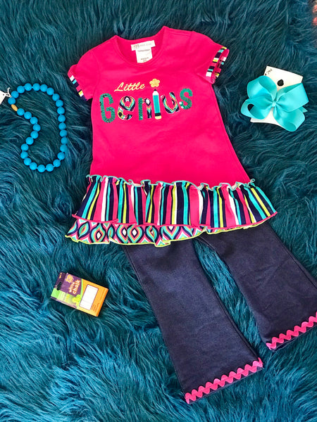 2018 School Colorful Fun Little Genius Pant Set - JEN'S KIDS BOUTIQUE