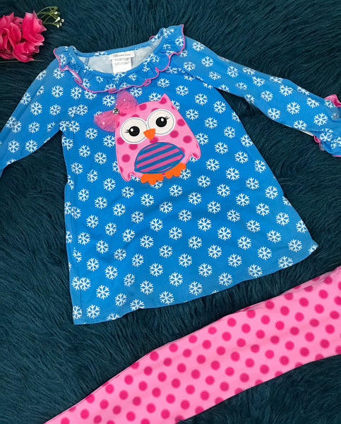 Bonnie Jean Blue Snowflake & Pink Owl Pant Set CH - JEN'S KIDS BOUTIQUE
