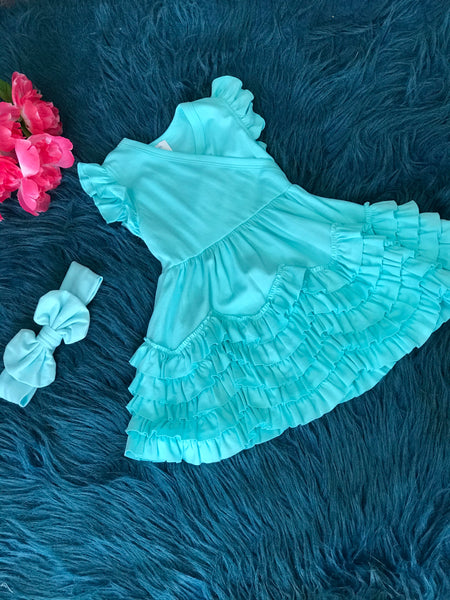 Lemon Loves Layette Spring Blue Ruffle Dress - JEN'S KIDS BOUTIQUE