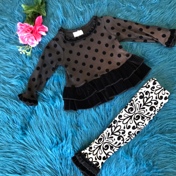 Mudpie Black Polka Dot & Black & White Tight Set - JEN'S KIDS BOUTIQUE