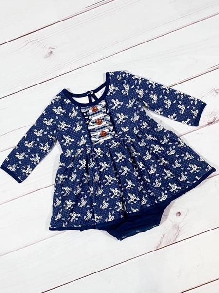 Swoon By Serendipity Fall Raleigh Picot Petal Dress Infant Bubble - JEN'S KIDS BOUTIQUE