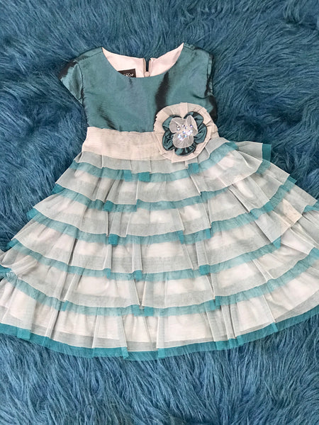 Isobella & Chloe Turquoise & Grey Ruffle Dress CH - JEN'S KIDS BOUTIQUE