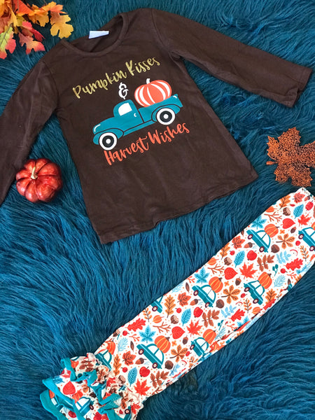 New Fall Brown Pumpkin Kisses & Harvest Wishes Truck Pants Set - JEN'S KIDS BOUTIQUE