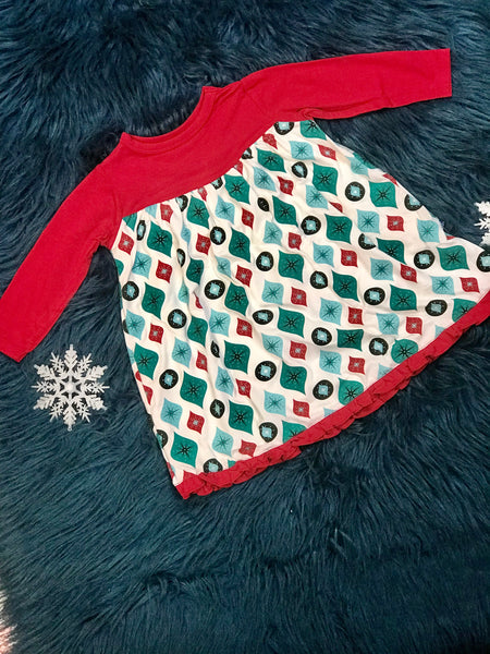 2018 Christmas Kickee Pants Holiday Classic Long Sleeve Swing Dress Natural Ornaments - JEN'S KIDS BOUTIQUE