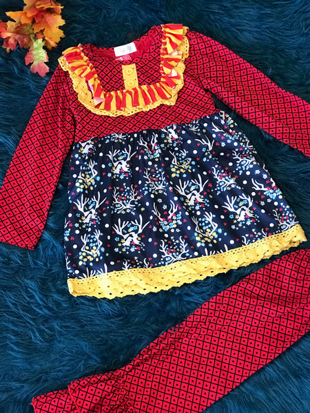 ily Lily Red/Yellow w/ Blue Antlers Pant Set CH - JEN'S KIDS BOUTIQUE