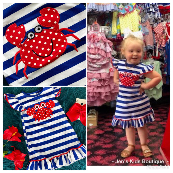 2019 blue and white crab dress - JEN'S KIDS BOUTIQUE