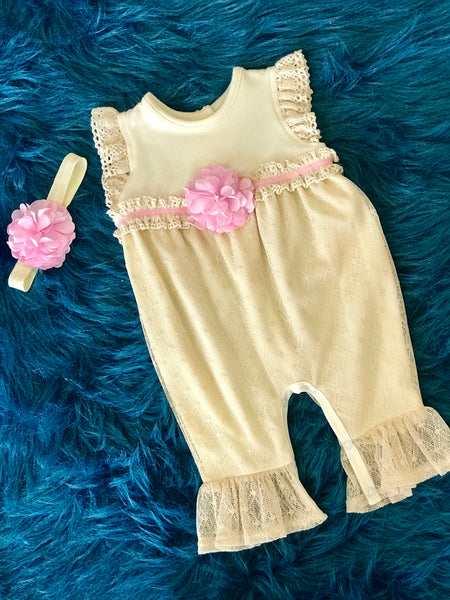 Peaches N Cream Spring Sweet Baby Romper W/Heaband - JEN'S KIDS BOUTIQUE