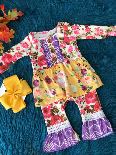 New Fall Infant Ruffle & Lace Mixed Floral Romper - JEN'S KIDS BOUTIQUE